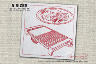 Electric Grill Redwork Kitchen & Cooking Embroidery Design By Redwork101