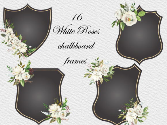 Elegant Black Frames with Flowers Graphic Crafts By Aneta Design