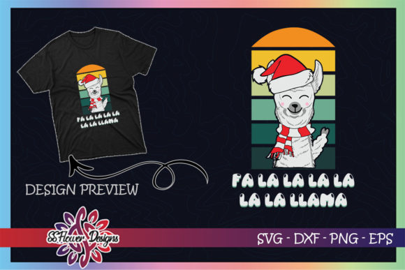 Fa La La Llama Christmas Santa Hat Graphic Print Templates By ssflower