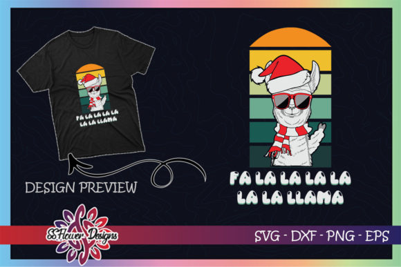 Fa La La Llama Christmas Sunglasses Graphic Print Templates By ssflower
