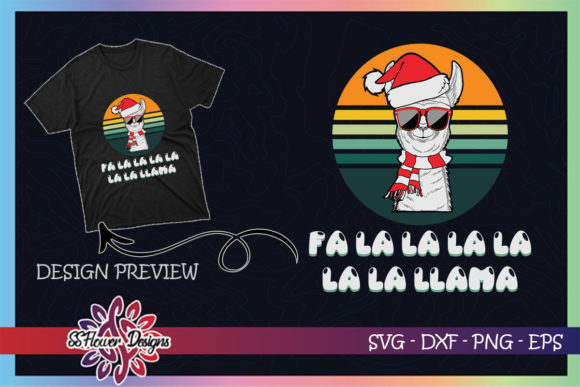 Fa La La Llama Christmas Vintage Design Graphic Print Templates By ssflower