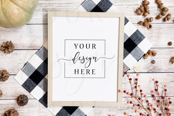Fall Frame Mockup in Rustic Farmhouse Graphic Photos By SlyDesignStudio