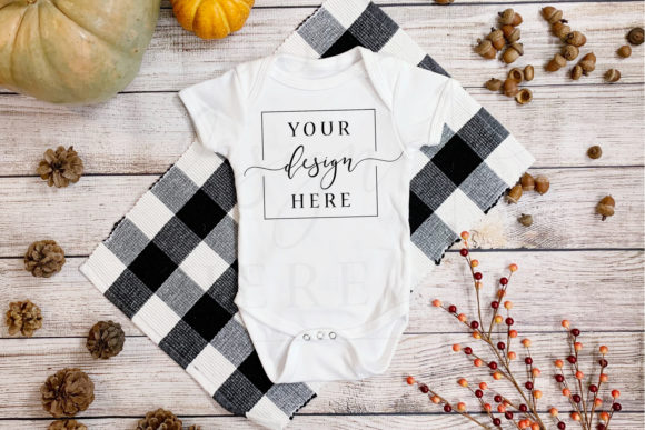 Fall Onesie Mockup in Rustic Farmhouse Graphic Photos By SlyDesignStudio