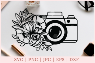 Floral Camera, Photography   Graphic Print Templates By CrazyCutDesigns