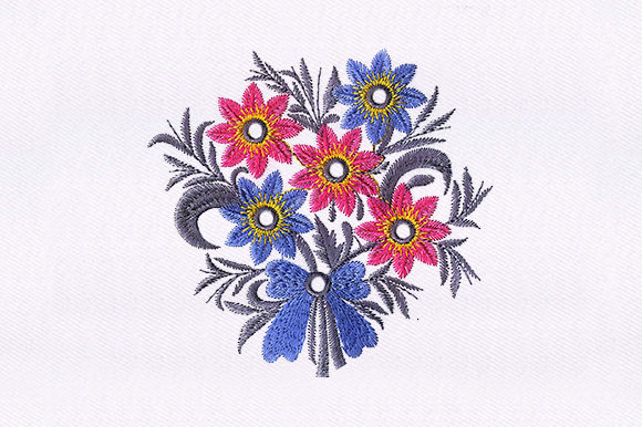 Flower Bouquet Mother's Day Embroidery Design By DigitEMB
