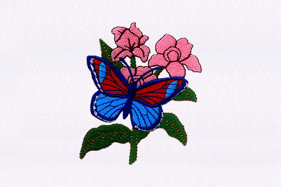 Flowers & Butterfly Single Flowers & Plants Embroidery Design By DigitEMB