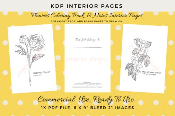 Print on Demand: Flowers Colouring Pages KDP Ready Graphic KDP Interiors By Simpsys Designs