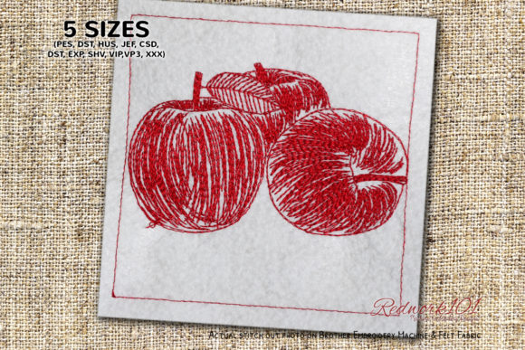 Fresh Apples Redwork Food & Dining Embroidery Design By Redwork101