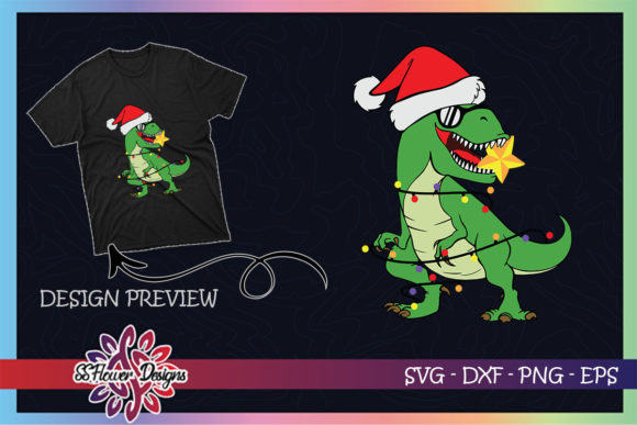Funny T-rex Christmas Light Santa Hat Graphic Print Templates By ssflower