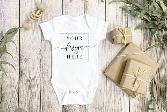 Gender Neutral Onesie Mockup, Rustic Far Graphic Photos By SlyDesignStudio