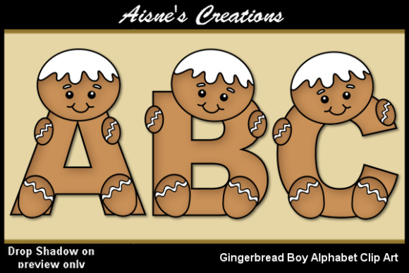 Print on Demand: Gingerbread Boy Alphabet Graphic Objects By Aisne