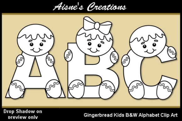 Print on Demand: Gingerbread Kids Black & White Alphabet Graphic Objects By Aisne