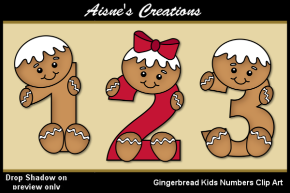 Print on Demand: Gingerbread Kids Numbers Graphic Objects By Aisne