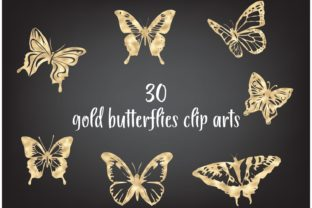 Gold Butterflies Clipart, Gold Foil Butt Graphic Objects By Aneta Design