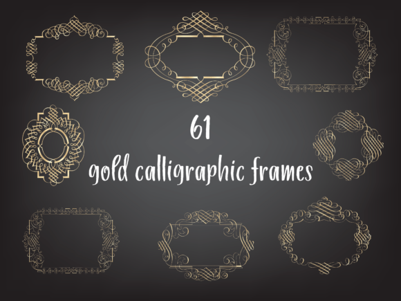 Gold Foil Frames Bundle Graphic Objects By Aneta Design