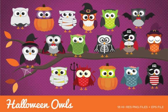 Halloween Owls Clipart Vector Graphic Illustrations By peachycottoncandy