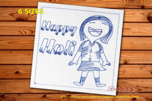 Happy Holi with Cute Girl Redwork Asia Embroidery Design By Redwork101