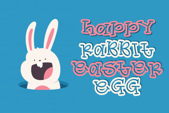 Print on Demand: Happy Rabbit Easter Egg Display Font By goodigital