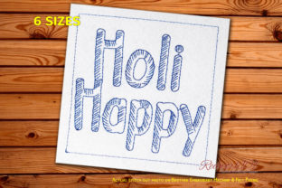 Holi Celebrations Text Asia Embroidery Design By Redwork101