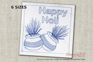 Holi Colorful Pots Redwork Asia Embroidery Design By Redwork101