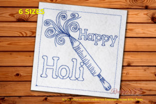 Holi with Colors Redwork Asia Embroidery Design By Redwork101