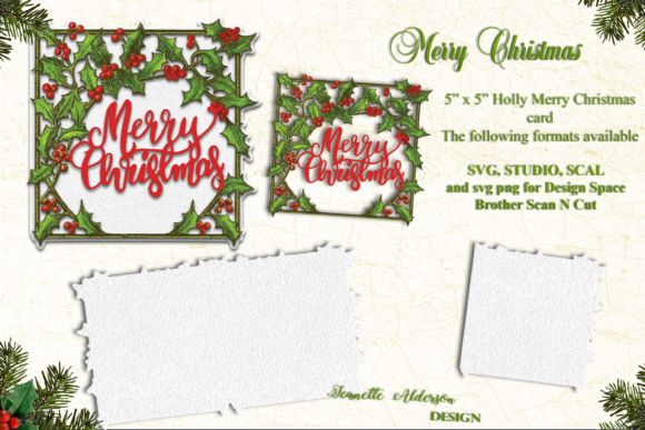 Holly Merry Christmas Card Cutting File Graphic Crafts By jeanette.alderson