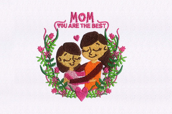 Hugging Mothers Day Mother's Day Embroidery Design By DigitEMB