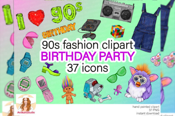 Print on Demand: I Love 90s Clipart, 90s Birthday Clipart Graphic Objects By arctiumstudio