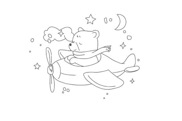 Print on Demand: Kids Flying Bear Coloring Page Graphic KDP Interiors By ArtsAlive