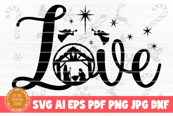 Print on Demand: Love Nativity Christmas SVG Cut File Graphic Crafts By VectorCreationStudio