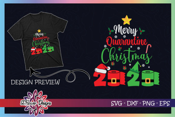Merry Quarantine Christmas Toilet Paper Graphic Print Templates By ssflower