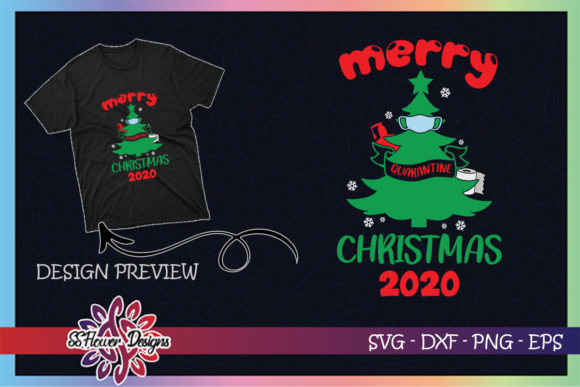 Merry Quarantine Christmas Tree Mask Graphic Print Templates By ssflower