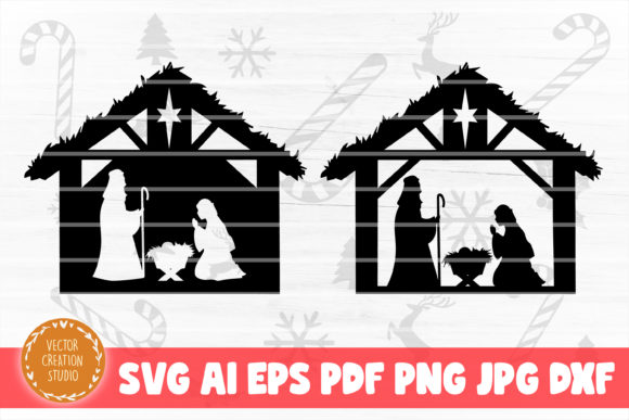 Print on Demand: Nativity Scene Christmas SVG Cut File Graphic Crafts By VectorCreationStudio
