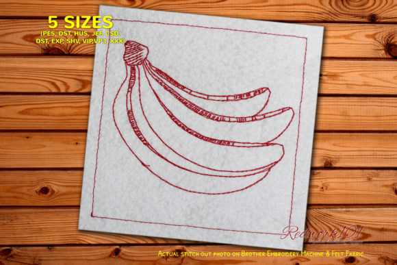 Organic Banana Redwork Food & Dining Embroidery Design By Redwork101