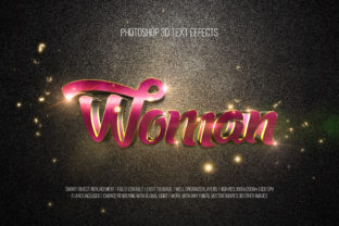 Print on Demand: Photoshop 3D Text Effects (Woman) Gráfico Estilos de capas Por DigitalPremium