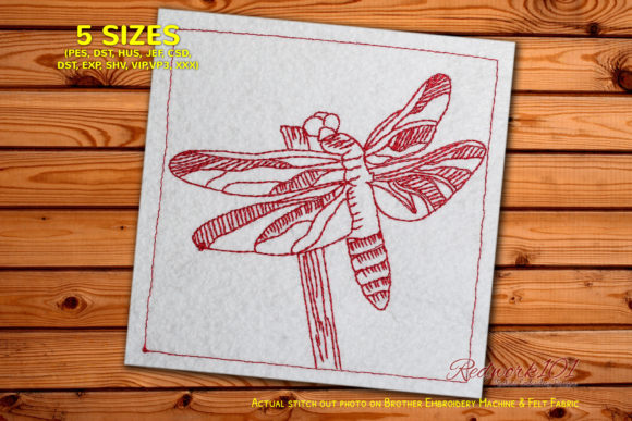 Pterygota Redwork Bugs & Insects Embroidery Design By Redwork101