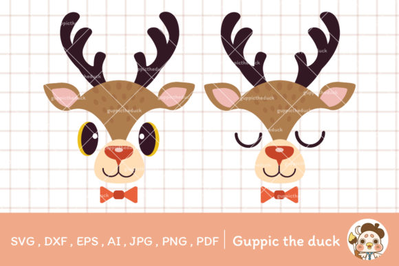 Reindeer SVG for Christmas Clipart Graphic Illustrations By Guppic the duck