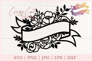 Ribbon Floral Banner, Flower Banner Graphic Print Templates By CrazyCutDesigns