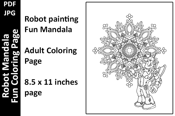 Robot Painting Mandala Fun Coloring Page Graphic Coloring Pages & Books Adults By Oxyp