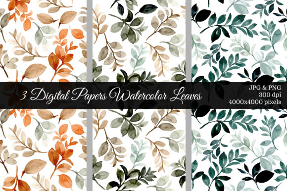 Print on Demand: Seamless Pattern Leaves Watercolor 5 Graphic Patterns By asrulaqroni