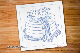 Strawberry Cake Dessert & Sweets Embroidery Design By Redwork101