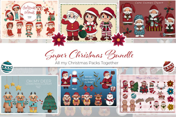 Print on Demand: Super Christmas Bundle Graphic Illustrations By StudioAngelArts