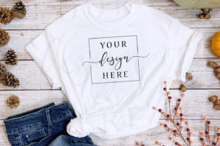 Thanksgiving Fall T-Shirt Mockup Rustic Graphic Product Mockups By SlyDesignStudio