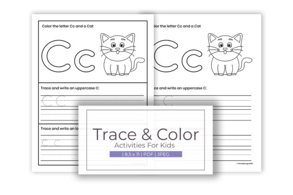 Print on Demand: Trace and Color Activity for C Alphabet Graphic K By doridodesign