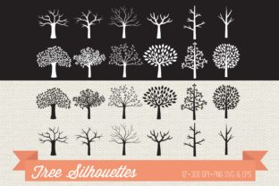 Tree Silhouettes Clipart Graphic Illustrations By peachycottoncandy