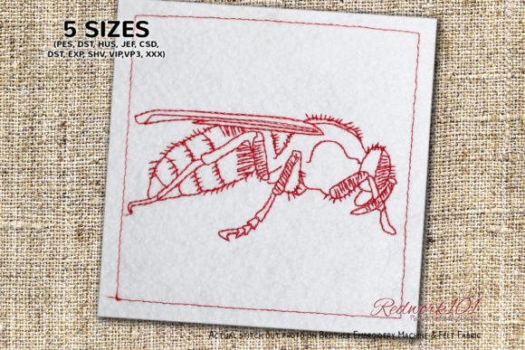 True Wasps Bugs & Insects Embroidery Design By Redwork101