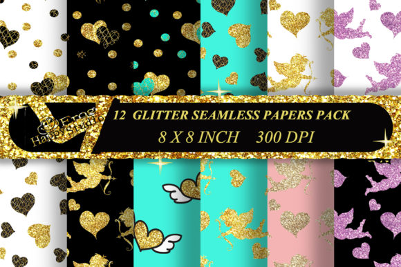Valentine Glitter Seamless Patterns Pack Graphic Patterns By arevkasunshine