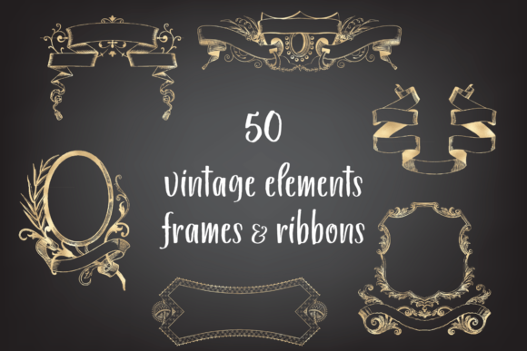 Vintage Decorative Frames and Ribbons Graphic Objects By Aneta Design