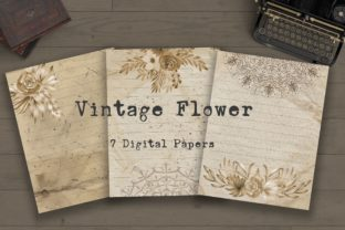 Print on Demand: Vintage Flower Digital Papers Graphic Backgrounds By PinkPearly