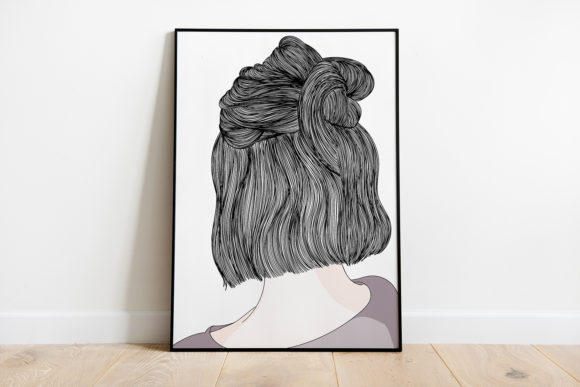 Print on Demand: Wall Art,Girl Standing with Her Back Graphic Illustrations By Saydung89